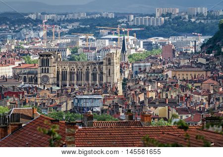 Lyon panoramic view with Cathedrale Saint Jean Baptiste