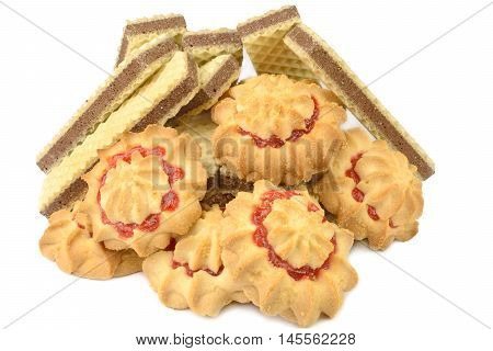 chocolate waffles and biscuits with jam on a white background