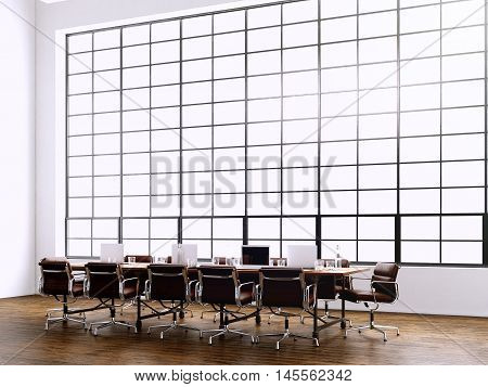 Photo modern meeting room with panoramic windows.Generics computers and generic design furniture in contemporary conference hall.Open space for sign business contracts.Horizontal. 3D rendering