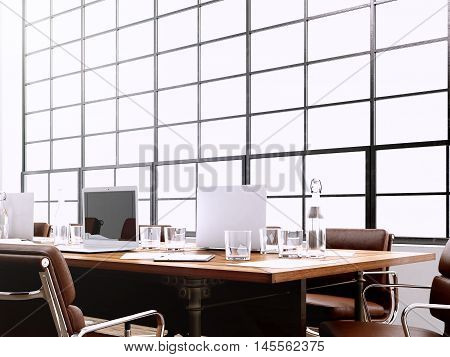 Photo modern interior meeting room with panoramic windows.Generics computers and generic design furniture in contemporary conference room.Open space for sign business contract.Horizontal. 3D rendering