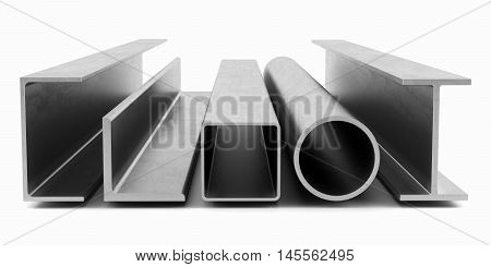 Samples of steel beams and pipes on white background. 3D rendering