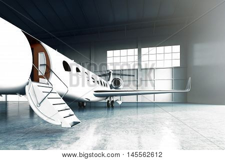 Closeup photo of White Matte Luxury Generic Design Private Jet parking in hangar airport. Concrete floor. Business Travel Picture. Horizontal, front angle view. Film Effect. 3D rendering
