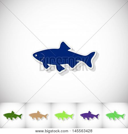 Fish ide. Flat sticker with shadow on white background. Vector illustration