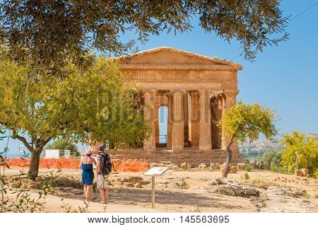 Front view of the greek temple of Concordia in the valley of the temples of Agrigento (Sicily)