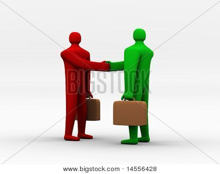 3D People Holding Briefcases Shaking Hands