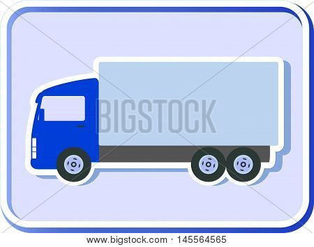 Button With Truck Silhouette
