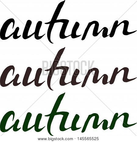 Autumn Lettering. Hand-written Words On Black And White Background. Isolated