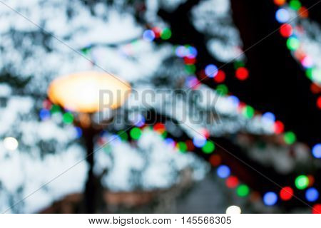 Abstract circular bokeh background of Christmaslight night