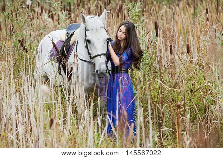 Girl in blue dress holds by bridle white horse among the reeds.