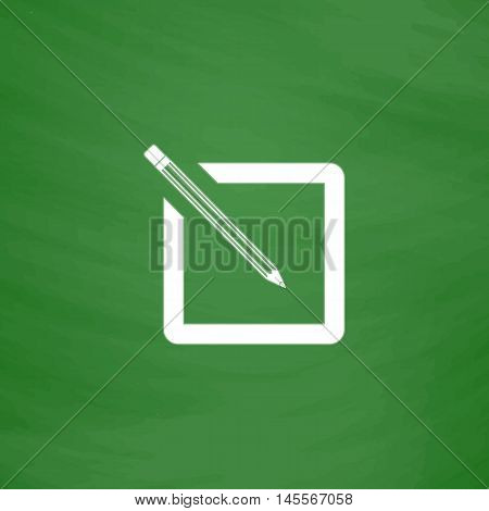 subscription Simple vector button. Imitation draw icon with white chalk on blackboard. Flat Pictogram and School board background. Illustration symbol