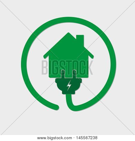 Silhouette of house with wire plug and socket - vector illustration. Green icon with house and wire fork on white background. Concept of connection and disconnection of the electricity.