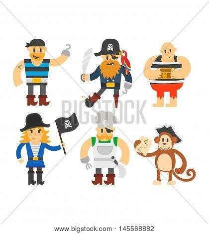 Cartoon pirate vector character isolated on white. Cartoon pirate character with sword, hat, skull and monkey. Funny cartoon pirates happy sailor boy costume. Fantasy kid adventure sea treasure man.