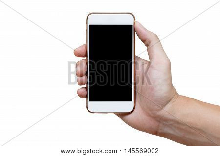 Human hand holding white phone on black screen isolated with clipping path on hand and inside screen.
