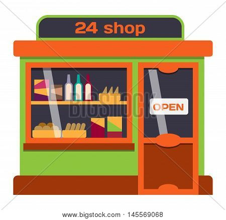 Vector flat design shop facade isolated. Some shop facade isolated on white background. Bakery, pharmacy, electronics store, ice cream shop, book shop facade, butcher shop, trendy clothing store, jewelry store facade.