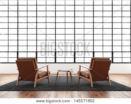 Modern interior studio loft huge panoramic window, natural color floor.Generic design furniture in contemporary business conference hall.Chill out lounge zone for relax hard work day.3D rendering