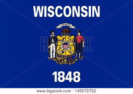 Flag of Wisconsin in the north-central United States. 3D illustration