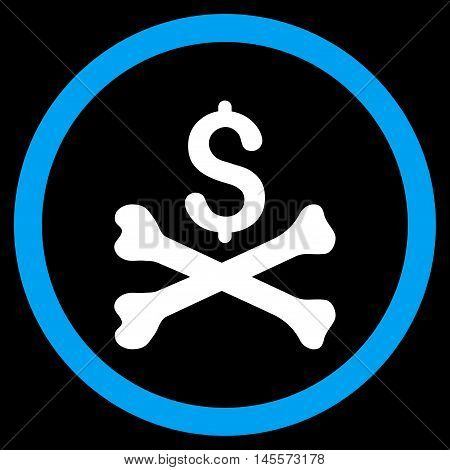 Mortal Debt vector bicolor rounded icon. Image style is a flat icon symbol inside a circle, blue and white colors, black background.