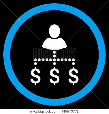Person Payments vector bicolor rounded icon. Image style is a flat icon symbol inside a circle, blue and white colors, black background.