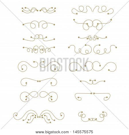 Abstract curly thin line design element set isolated on white background. Dividers. Hand drawn swirls. Vector illustration.