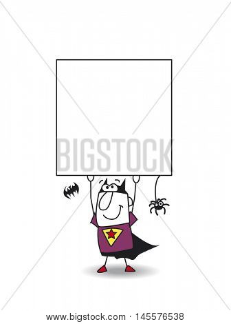 Superhero  Bat boy carries a signboard. Write your message on it