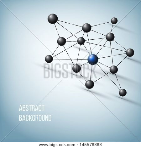 Abstract molecule design. Atom structure. Vector background for medicine, science, technology, chemistry, biotechnology poster
