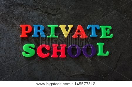Private School spelled with colorful play letters