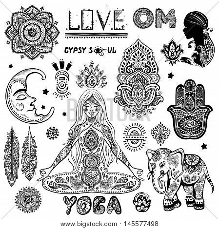 Vector set of floral paisley ornaments. Indian elephant. Mandala lotus icon. Henna tattoo style banners could be used as greeting card, business card, phone case print, shirt print, coloring book
