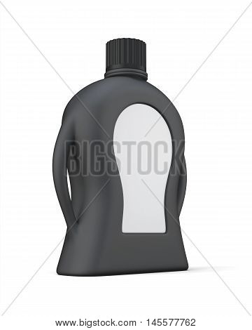 Black Bottle Of Detergent With A Blank Label For Your Design.