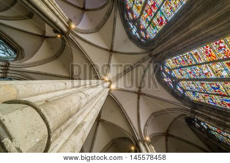Ceiling And Stained Glass Of The Cologne Cathedral. Germany.