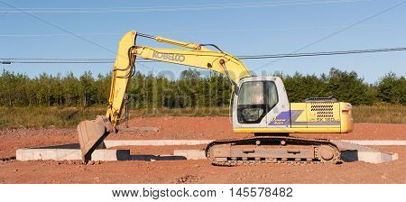 TRURO CANADA - SEPT 04 2016: Kobelco SK 160 excavator. Kobelco Construction Machinery is an American excavator manufacturing company headquartered in Calhoun GA. Kobe Steel is Kobelco's parent company.