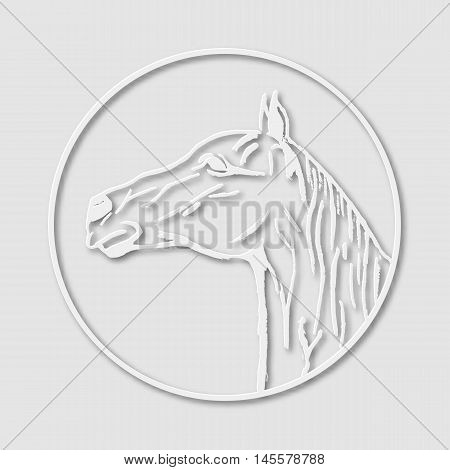 Papery logo emblem template mascot symbol of horse head for business or shirt design. Vector vintage design element