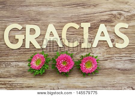 Gracias (which means thank you in Spanish) written with wooden letters and pink daisies