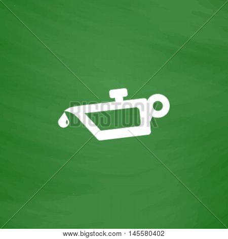 lube oil Simple vector button. Imitation draw icon with white chalk on blackboard. Flat Pictogram and School board background. Illustration symbol