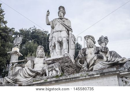 Italy, Rome, Piazza del Popolo - A Neptune Fountain particular