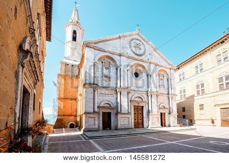 Pienza cathedral on the main square in Tuscany region in Italy
