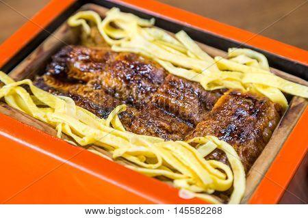 Unagi Don - Grill Eel Rice In Red Box Close Up