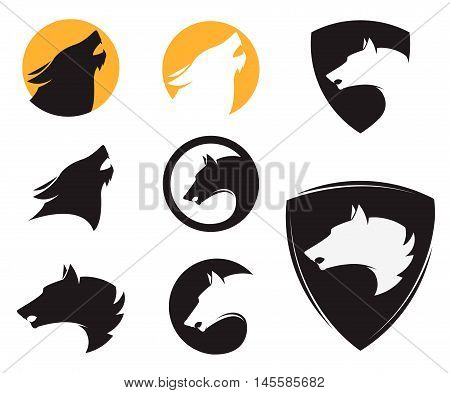 Set of the emblem templates with wolf heads. Design elements for logo label emblem sign brand mark. Vector illustration.