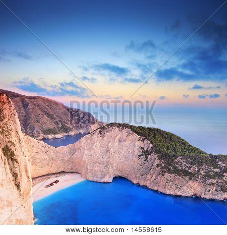Panorama Of Zakynthos Island, Greece With A Shipwreck On The Beach