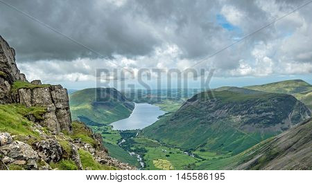 Wast Water lake and Wasdale Head viewed from the footpath to the summit of Great Gable in the English Lake District national Park, Cumbria.