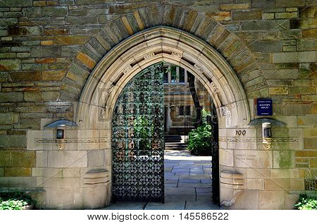 New Haven Connecticut - June 19 2013: Neo gothic gateway to the Master'sHouse at Yale University's Trumbull College