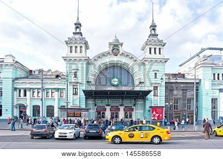 MOSCOW RUSSIA - September 02.2016: Cars and passengers at the entrance to the Belorussky railway terminal