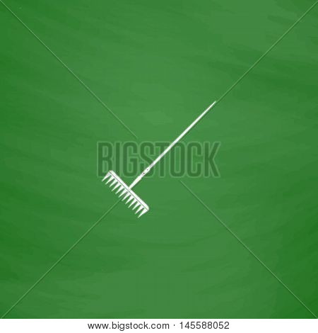 Rake Simple vector button. Imitation draw icon with white chalk on blackboard. Flat Pictogram and School board background. Illustration symbol