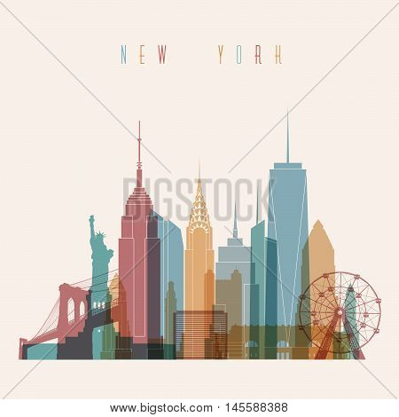 Transparent styled New York City skyline detailed silhouette. Trendy vector illustration.