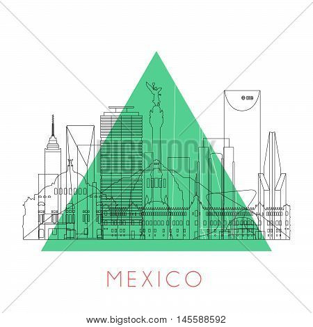 Outline Mexico skyline with black landmarks. Vector illustration. Business travel and tourism concept with historic buildings. Image for presentation, banner, placard and web site.