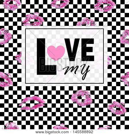 Love me. Pink lips and kisses on black geometric squares. Trendy layout. Postcards logos labels