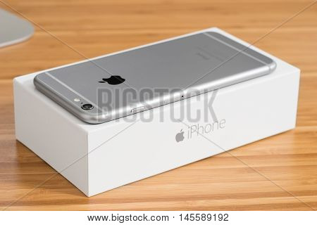 UFA RUSSIA - 3 JULY 2016: iPhone 6 Plus is a smartphone developed by Apple Inc. iPhone 6 Plus is on the box.