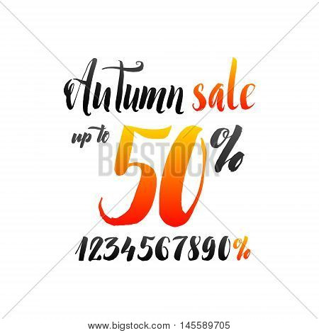 Autumn Sale Hand lettering Design Template. Persent Typography Vector Background. Handmade Discount Calligraphy. Easy paste to any background.