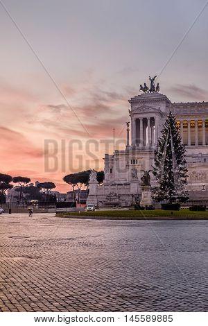 Twilight In Piazza Venezia
