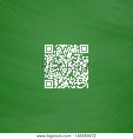 Qr code Simple vector button. Imitation draw icon with white chalk on blackboard. Flat Pictogram and School board background. Illustration symbol