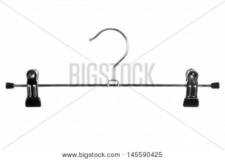 Metal skirt hanger isolated on white background
